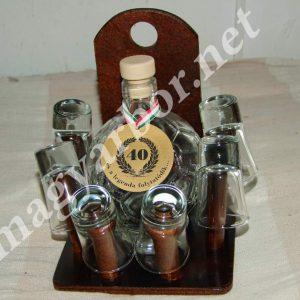 Pálinkás Készlet Focilabda Üvegpalackkal és 6 db Pálinkáspohárral