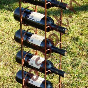 kovácsoltvas bortartó állvány 6 palackos antikolt