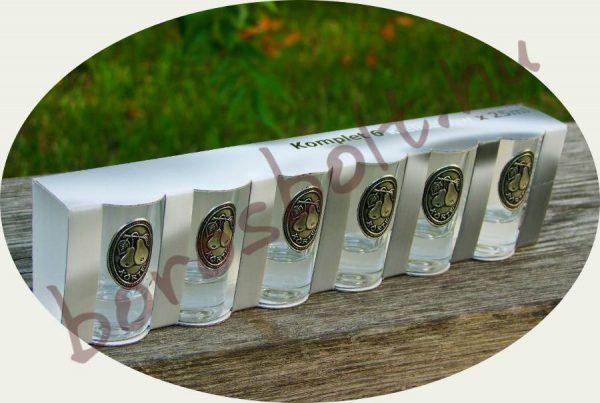 Pálinkáspohár Készlet Ón cimkével (6 db 25 ml-es)