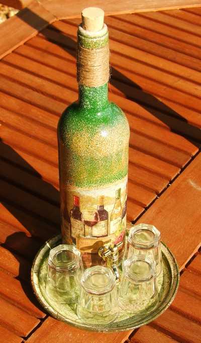 Csapos Pálinkás Üveg 4 db pohárral